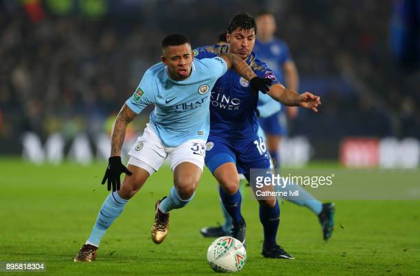 Gabriel Jesus of Manchester City and Alexandar Dragovic of Leicester City during the Carabao Cup QuarterFinal match between Leicester City and...