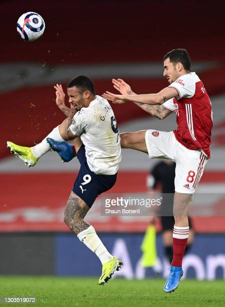 Gabriel Jesus of Manchester City and Dani Ceballos of Arsenal battle for possession during the Premier League match between Arsenal and Manchester...