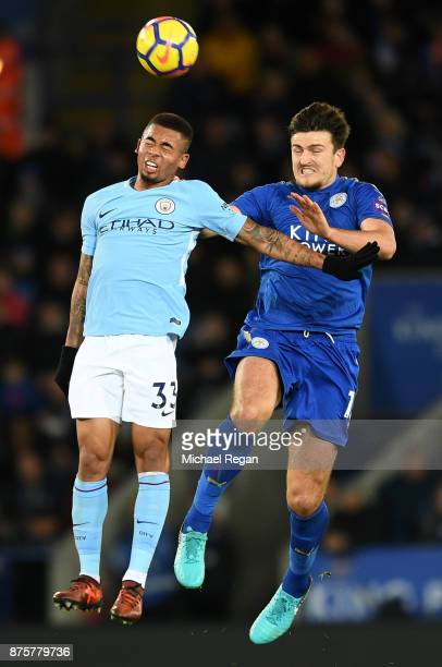Gabriel Jesus of Manchester City and Harry Maguire of Leicester City compete for the ball during the Premier League match between Leicester City and...