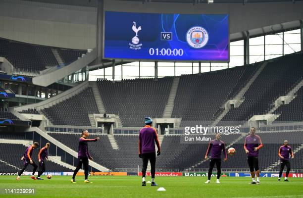 Gabriel Jesus of Manchester City and team mates during a Manchester City training session ahead of their UEFA Champions League quarterfinal match...