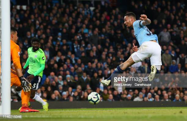 Gabriel Jesus of Manchester City attempts a back heel shot on goal during the Premier League match between Manchester City and Cardiff City at Etihad...