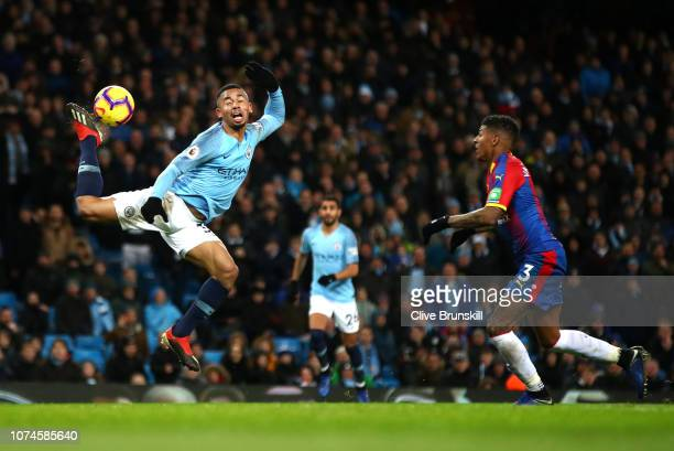 Gabriel Jesus of Manchester City attempts to control the ball during the Premier League match between Manchester City and Crystal Palace at Etihad...