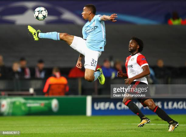 Gabriel Jesus of Manchester City attempts to control the ball in the air during the UEFA Champions League group F match between Feyenoord and...