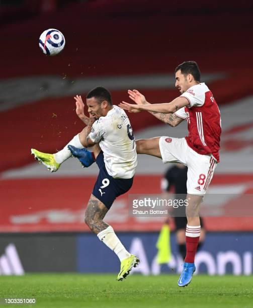 Gabriel Jesus of Manchester City battles for possession with Dani Ceballos of Arsenal during the Premier League match between Arsenal and Manchester...