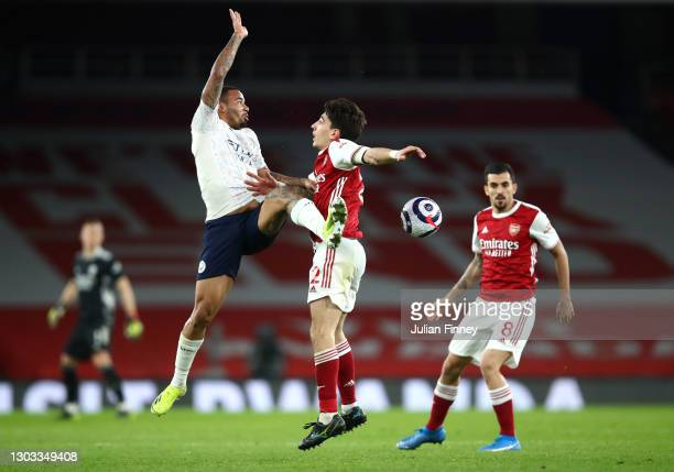 Gabriel Jesus of Manchester City battles for possession with Hector Bellerin of Arsenal during the Premier League match between Arsenal and...