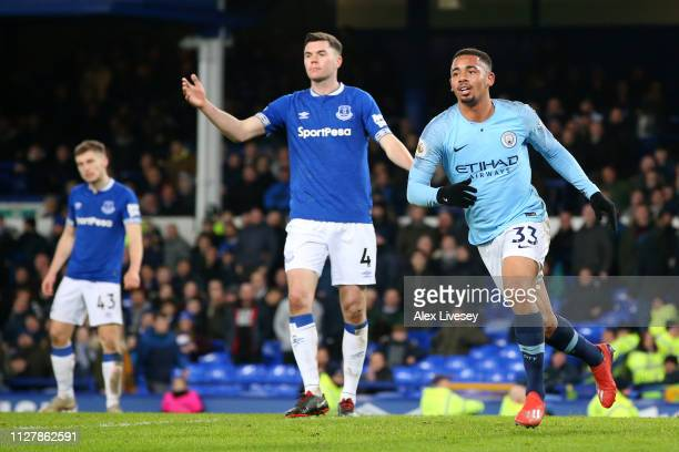 Gabriel Jesus of Manchester City celebrates after he scores his sides second goal during the Premier League match between Everton FC and Manchester...