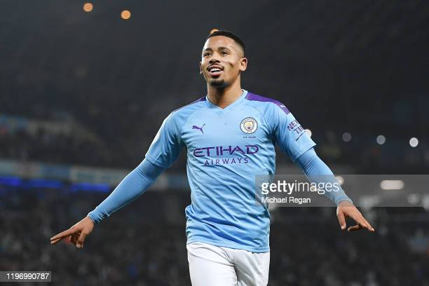Gabriel Jesus of Manchester City celebrates after he scores his sides second goal during the Premier League match between Manchester City and Everton...