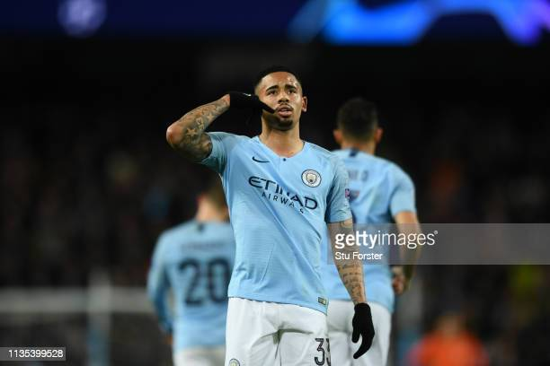 Gabriel Jesus of Manchester City celebrates after he scores his teams seventh goal during the UEFA Champions League Round of 16 Second Leg match...