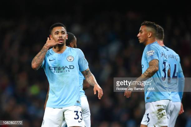 Gabriel Jesus of Manchester City celebrates after scoring a goal to make it 20 during the Premier League match between Manchester City and...