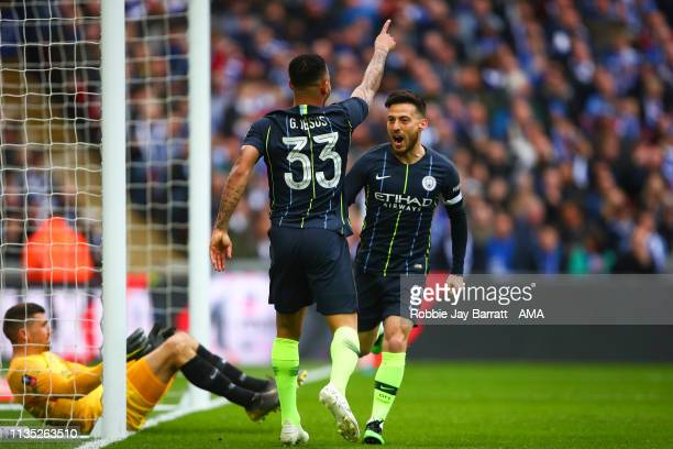 Gabriel Jesus of Manchester City celebrates after scoring a goal to make it 10 during the FA Cup Semi Final match between Manchester City and...