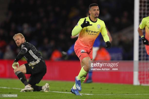 Gabriel Jesus of Manchester City celebrates after scoring a goal to make it 0-1 during the Premier League match between Leicester City and Manchester...