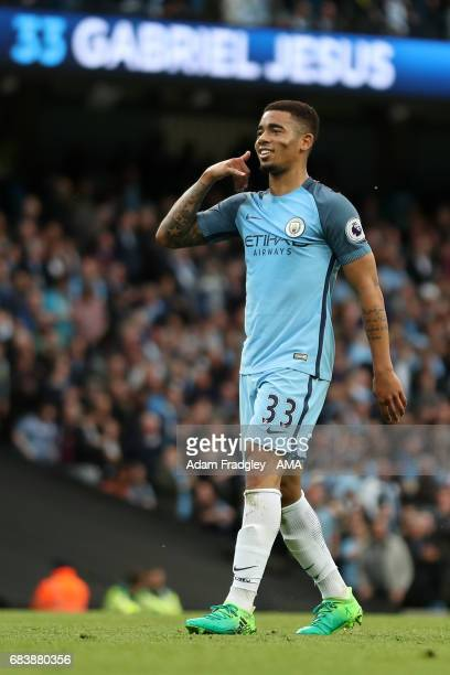Gabriel Jesus of Manchester City celebrates after scoring a goal to make it 10 during the Premier League match between Manchester City and West...