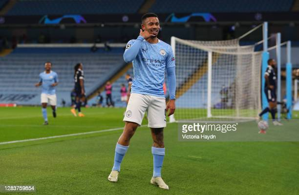 Gabriel Jesus of Manchester City celebrates after scoring his sides second goal during the UEFA Champions League Group C stage match between...