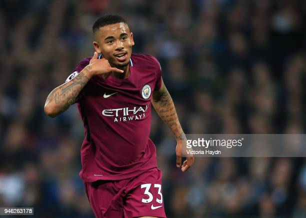 Gabriel Jesus of Manchester City celebrates after scoring his sides first goal during the Premier League match between Tottenham Hotspur and...
