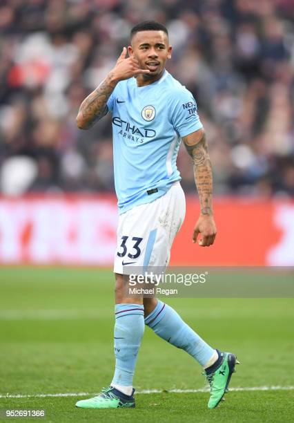Gabriel Jesus of Manchester City celebrates after scoring his sides third goal during the Premier League match between West Ham United and Manchester...