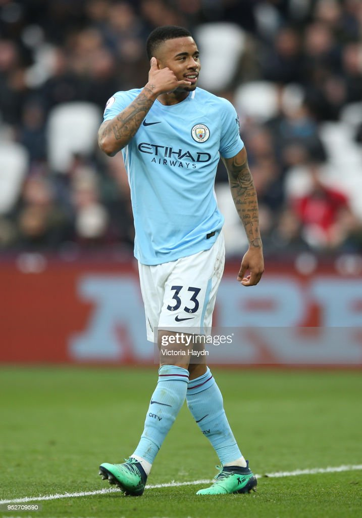 Gabriel Jesus of Manchester City celebrates after scoring his sides third goal during the Premier League match between West Ham United and Manchester City at London Stadium on April 29, 2018 in London, England.