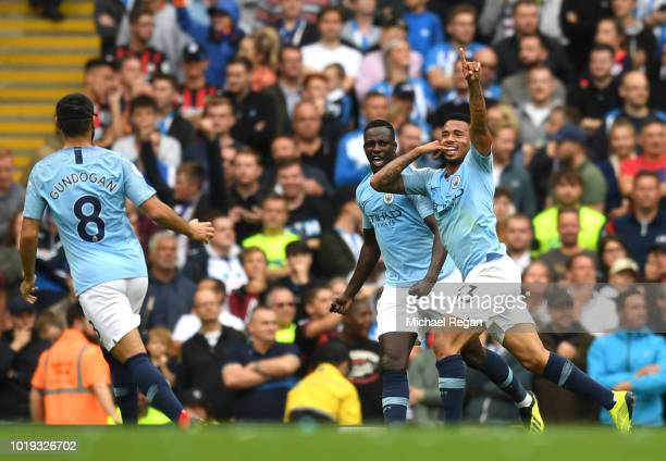 Gabriel Jesus of Manchester City celebrates after scoring his team's second goal during the Premier League match between Manchester City and...