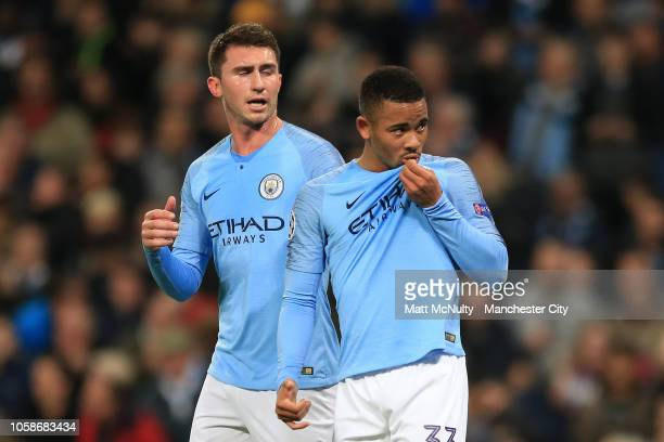 Gabriel Jesus of Manchester City celebrates after scoring his team's second goal with Aymeric Laporte of Manchester City during the Group F match of...