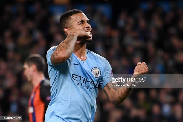 Gabriel Jesus of Manchester City celebrates after scoring his team's fourth goal during the Group F match of the UEFA Champions League between...