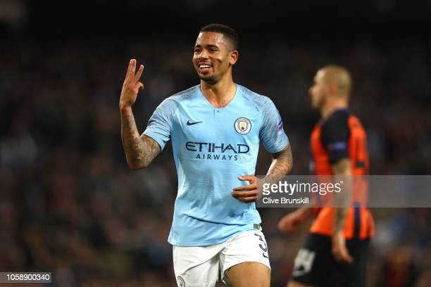 Gabriel Jesus of Manchester City celebrates after scoring his team's sixth and his hatrick goal during the Group F match of the UEFA Champions League...