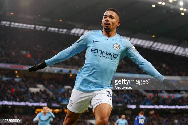Gabriel Jesus of Manchester City celebrates after scoring his team's first goal during the Premier League match between Manchester City and Everton...
