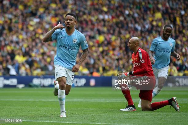 Gabriel Jesus of Manchester City celebrates after scoring his team's fourth goal during the FA Cup Final match between Manchester City and Watford at...