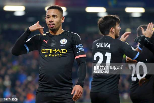 Gabriel Jesus of Manchester City celebrates after scoring his team's second goal during the Premier League match between Burnley FC and Manchester...