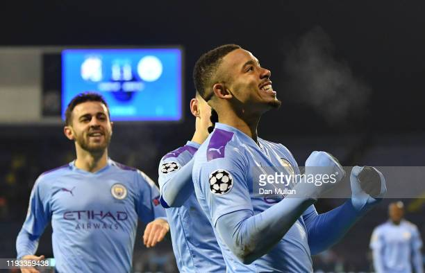 Gabriel Jesus of Manchester City celebrates after scoring his team's second goal during the UEFA Champions League group C match between Dinamo Zagreb...