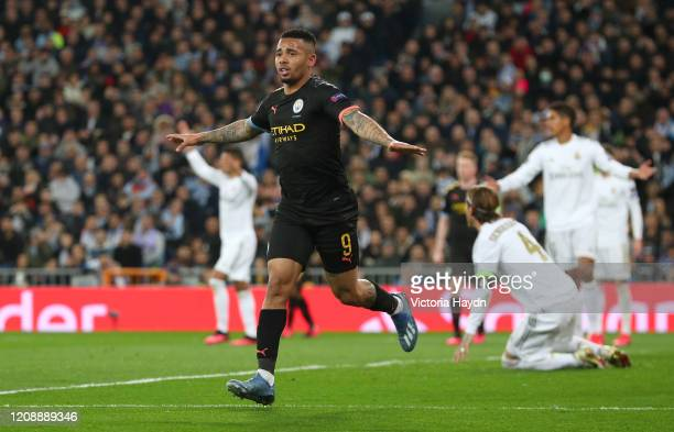 Gabriel Jesus of Manchester City celebrates after scoring his team's first goal during the UEFA Champions League round of 16 first leg match between...