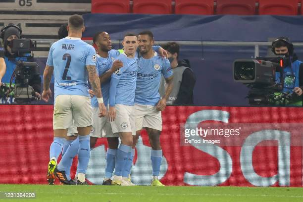Gabriel Jesus of Manchester City celebrates after scoring his team's second goal during the UEFA Champions League Round of 16 match between Borussia...