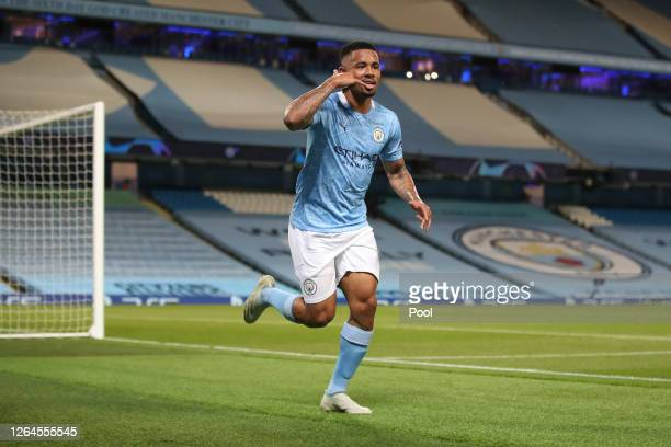 Gabriel Jesus of Manchester City celebrates after scoring his team's second goal during the UEFA Champions League round of 16 second leg match...