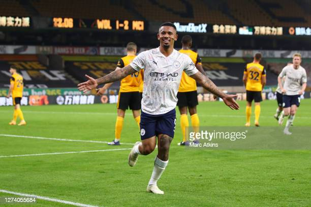Gabriel Jesus of Manchester City celebrates after scoring his team's third goal during the Premier League match between Wolverhampton Wanderers and...