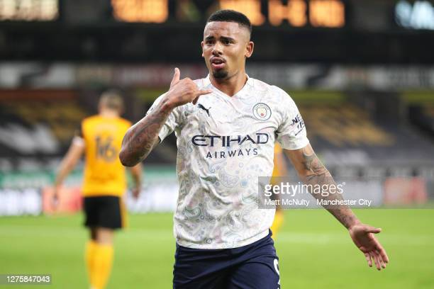 Gabriel Jesus of Manchester City celebrates after scoring his teams third goal during the Premier League match between Wolverhampton Wanderers and...