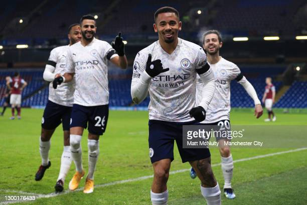 Gabriel Jesus of Manchester City celebrates after scoring his team's first goal during the Premier League match between Burnley and Manchester City...