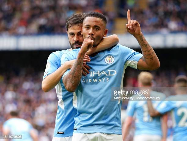 Gabriel Jesus of Manchester City celebrates after scoring his teams first goal during the Premier League match between Chelsea and Manchester City at...