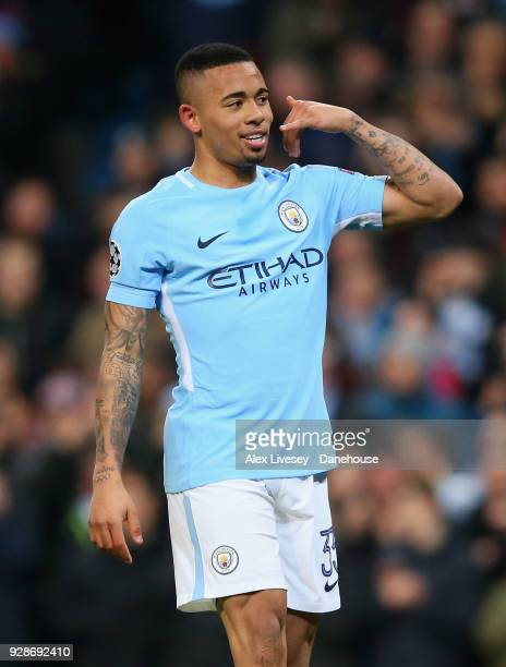 Gabriel Jesus of Manchester City celebrates after scoring the opening goal during the UEFA Champions League Round of 16 Second Leg match between...
