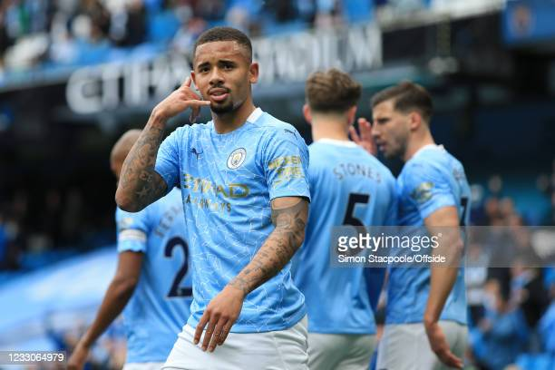 Gabriel Jesus of Manchester City celebrates after scoring their 2nd goal during the Premier League match between Manchester City and Everton at...