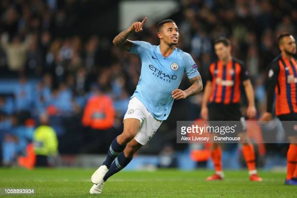 Gabriel Jesus of Manchester City celebrates after scoring their fourth goal from the penalty spot during the UEFA Champions League Group F match...