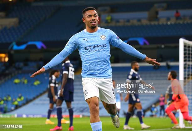 Gabriel Jesus of Manchester City celebrates after scoring their second goal during the UEFA Champions League Group C stage match between Manchester...