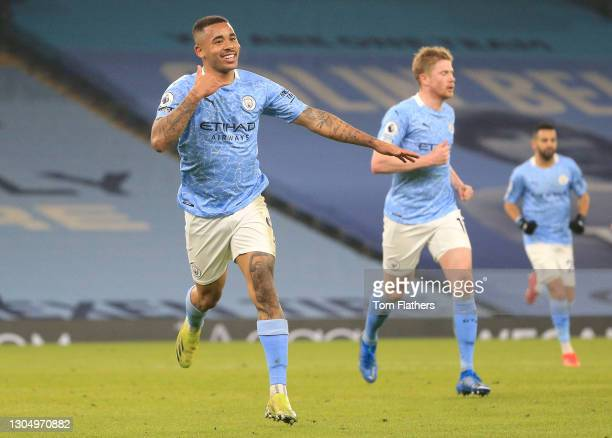 Gabriel Jesus of Manchester City celebrates after scoring their side's second goal during the Premier League match between Manchester City and...