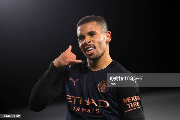 Gabriel Jesus of Manchester City celebrates after scoring their team's second goal during the Premier League match between Fulham and Manchester City...