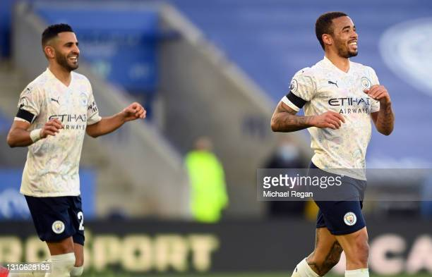 Gabriel Jesus of Manchester City celebrates after scoring their team's second goal during the Premier League match between Leicester City and...