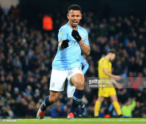 Gabriel Jesus of Manchester City celebrates as he scores his team's fifth goal and completes his hat trick during the Carabao Cup Semi Final First...