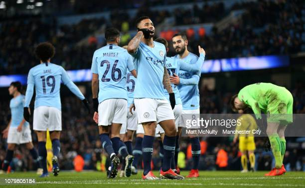 Gabriel Jesus of Manchester City celebrates as he scores his team's fifth goal and completes his hat trick with team mates during the Carabao Cup...