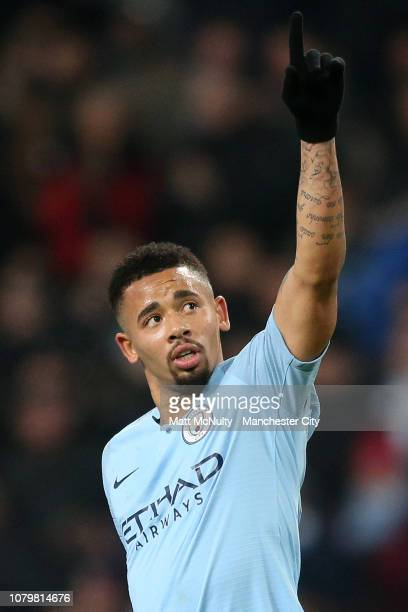 Gabriel Jesus of Manchester City celebrates as he scores his team's seventh goal during the Carabao Cup Semi Final First Leg match between Manchester...