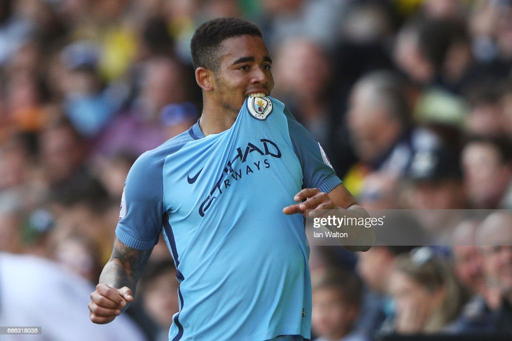 Gabriel Jesus of Manchester City celebrates scoring his sides fifth goal during the Premier League match between Watford and Manchester City at Vicarage Road on May 21, 2017 in Watford, England.