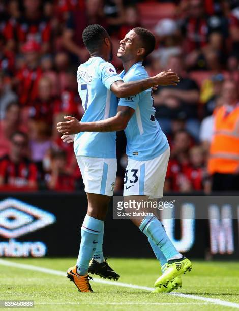 Gabriel Jesus of Manchester City celebrates scoring his sides first goal with Raheem Sterling of Manchester City during the Premier League match...