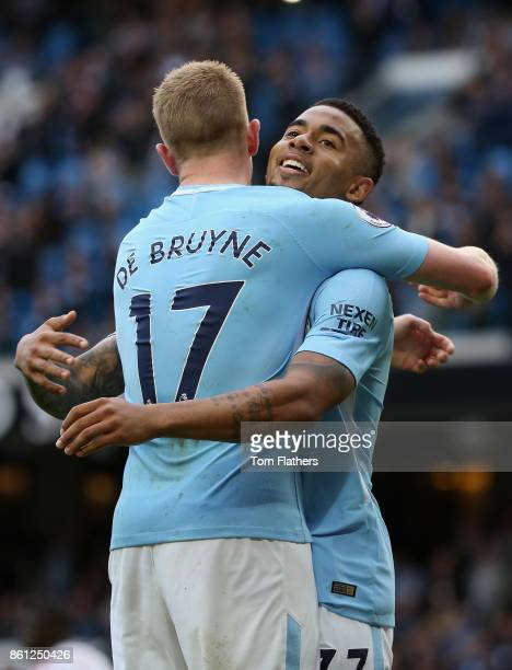 Gabriel Jesus of Manchester City celebrates scoring his sides fourth goal with Kevin De Bruyne of Manchester City during the Premier League match...