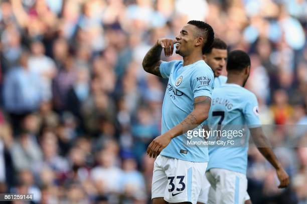 Gabriel Jesus of Manchester City celebrates scoring his sides fourth goal during the Premier League match between Manchester City and Stoke City at...