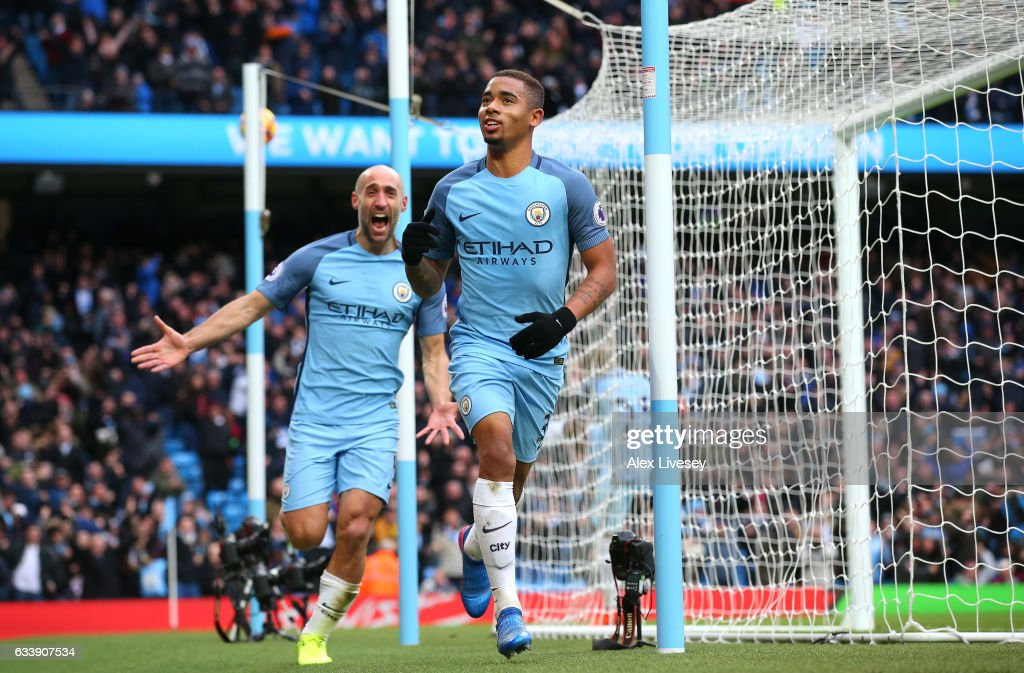 Gabriel Jesus of Manchester City celebrates scoring his sides second goal during the Premier League match between Manchester City and Swansea City at Etihad Stadium on February 5, 2017 in Manchester, England.